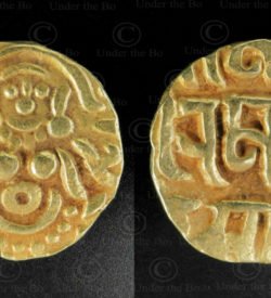 Rajput gold coin C329. Gahadvala or Gaharwar dynasty, India.