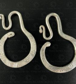 Boucles d'oreilles yao lantien argent E185. Minorité Yao Lantien; nord du Laos.
