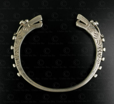 Bracelet dragon argent tai leu B225A. Minorité Tai Leu, Laos