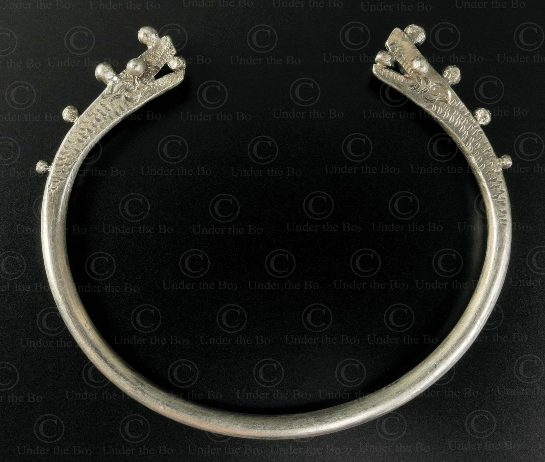 Bracelet dragon argent tai leu B227. Minorité Tai Leu, Laos