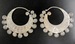 Hmong silver earrings E219A. Hmong minority, Northern Laos.