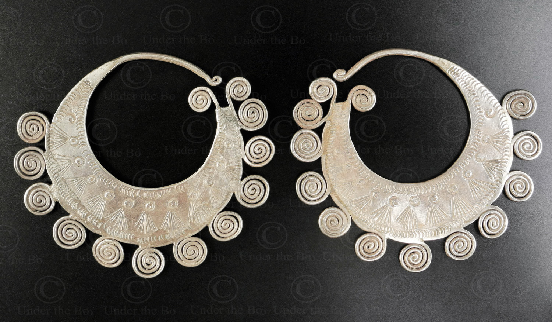 Hmong silver earrings E219A. Hmong minority, Northern Laos.
