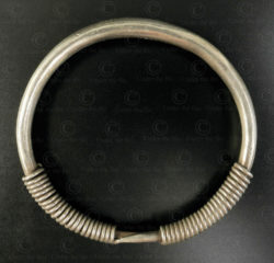 Hmong spiraled silver bracelet B229. Hmong minority, Northern Laos.