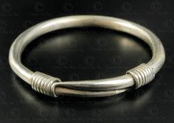 Hmong twisted silver bracelet B230. Hmong minority, Northern Laos.