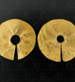 Srithep gold earrings E160. Ancient Srithep Dvaravati kingdom, Central Thailand.