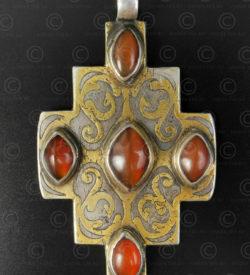 Turkmen silver cross pendant P209. Tekke Turkmen culture, Central Asia.
