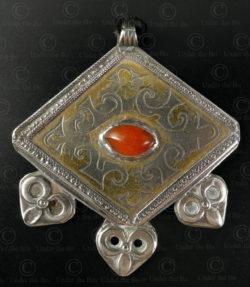 Turkmen silver pendant P107. Tekke Turkmen culture, Central Asia.