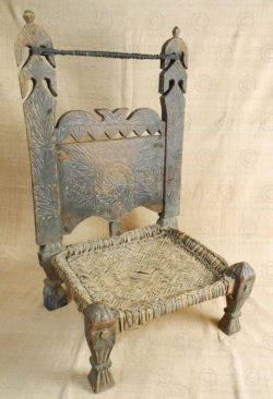 Kohistan low chair 17F52L. Matiltan village, Kalam area, Kohistan mountains, upper Swat valley, North Pakistan.