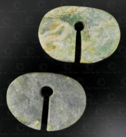 Ancient Thai jadeite earrings E207. Found in Eastern Thailand.