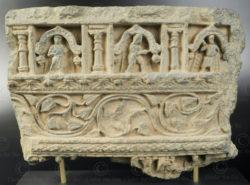 Ancien royaume bouddhiste de Gandhara, trouvée dans la vallée de Swat, nord du Pakistan. Frise schiste Gandhara PK238.