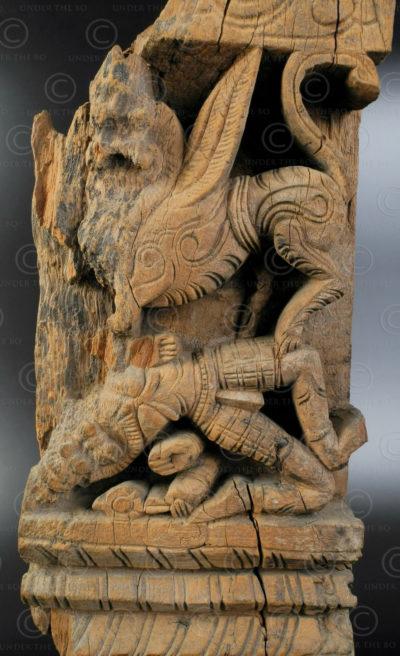Panneau Sarabeshwara en bois IN685. État du Tamil Nadu, Inde du sud.