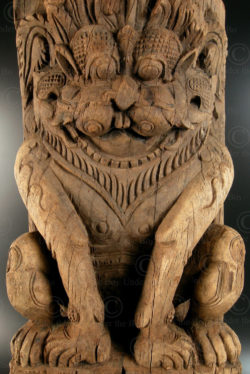 Panneau lion de char de temple 08LN14B. État du Tamil Nadu, Inde du sud.