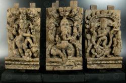 Trois panneaux de char de temple 08LN11. État du Tamil Nadu, Inde du sud.