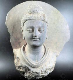 Buste Gandhara schiste PK254. Ancien royaume de Gandhara (Pakistan).