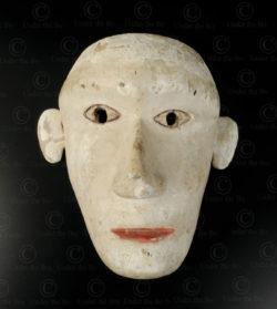 Masque blanc Bidayuh BO257D. Culture dayak bidayuh, Sarawak, île de Bornéo.