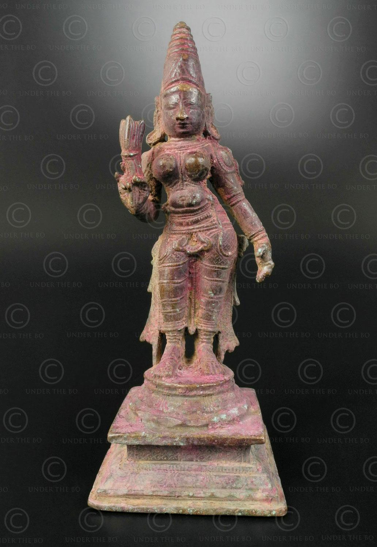 Bronze Lakshmi holding lotus bud 16N36. Tamil Nadu state, Southern India.