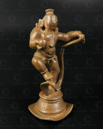 Statuette bronze Krishna dansant 16N43. État du Tamil Nadu, Inde du sud.