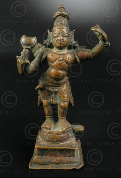 Statuette de Rama en bronze 16P38. État du Tamil Nadu, Inde du sud.