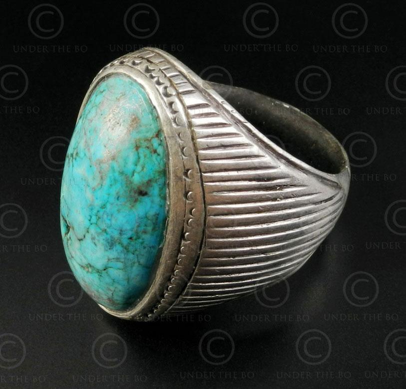 Bague turquoise et argent R288P. Culture Asie centrale.