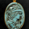 European style turquoise pendant P159. Contemporary work, India.