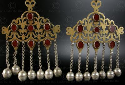 Paire de pendentifs turkmènes P161. Culture turkmène tékké, Afghanistan.