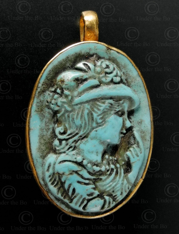 Pendentif en turquoise de style européen P159. Travail indien contemporain.