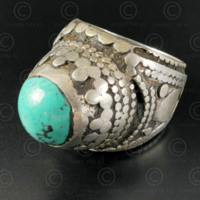 Turquoise and silver ring R280F. Turkmen culture, Central Asia.