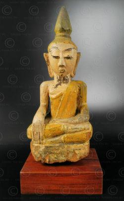 Bouddha Lanna en bois T453. Style du Lanna, Thaïlande du nord.