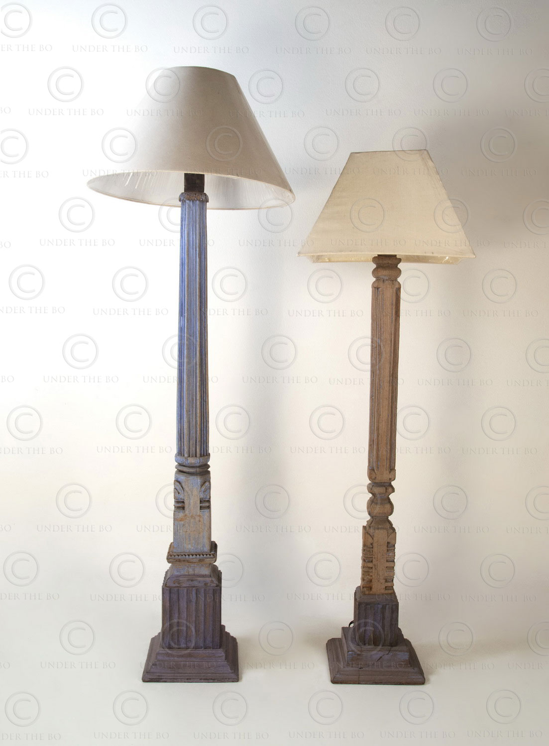Colonial standard lamp IN697. Made with a small Southern India house post.