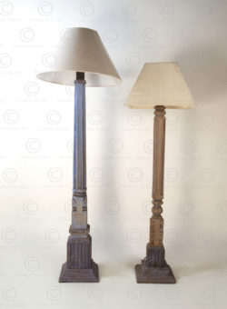 Colonial floor lamp IN698. Made with a small Southern India house post.