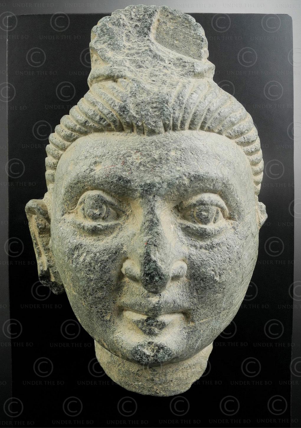 Visage Bouddha Gandhara en schiste PK258. Art gréco-bouddhiste, ancien royaume de Gandhara