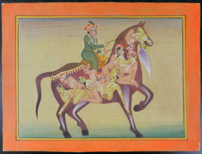 Miniature érotique Rajasthan IN623A. École du Rajasthan, Inde du nord.