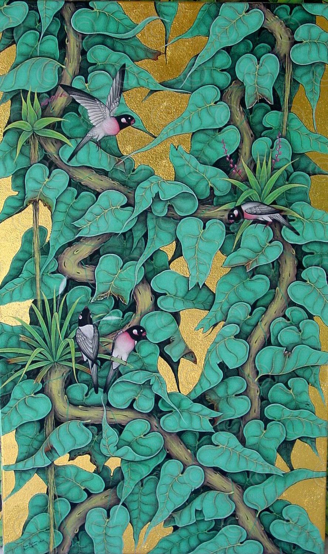 Peinture verdure balinaise UB15. École d'Ubud. Bali, Indonésie.