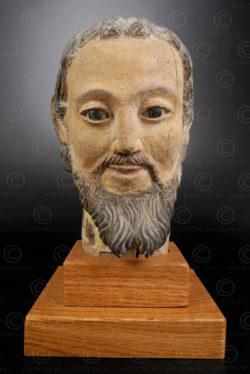 Wooden Saint head VT2C .North Vietnam.
