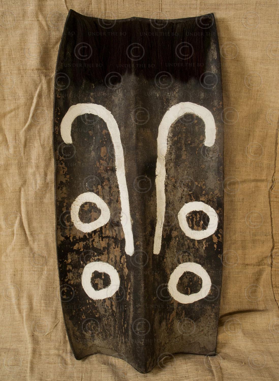 Bouclier cuir naga NA66F. État du Nagaland, Inde du Nord-Est.