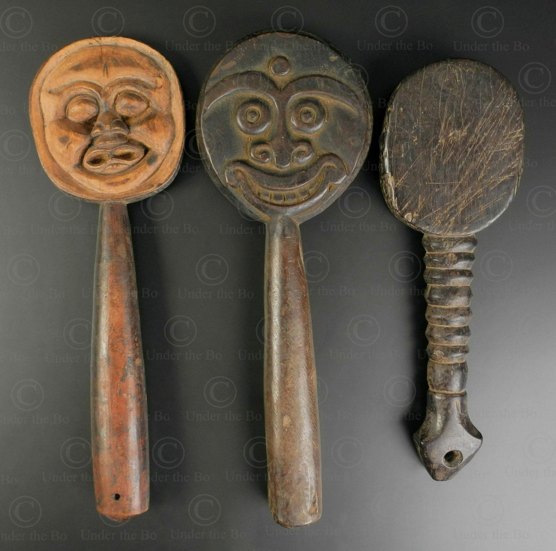 Three Lombok rice beaters ID101. Sasak people, Lombok island, Indonesia.